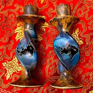 AFRICAN HAND CARVED SOAPSTONE CANDLE STICK HOLDERS